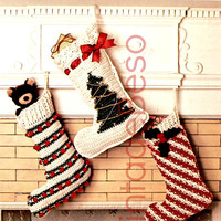 CROCHET CHRISTMAS PATTERNS 1970s Stockings for Holiday Season Candy Cane Tree Holly Leaves and Berries Vintage Beso Vintage Crochet Pattern