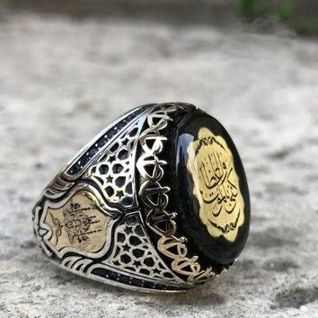 Amber gemstone with calligraphy sterling silver mens ring