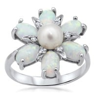 925 Silver Ring with White Opal, White Cultured Pearl