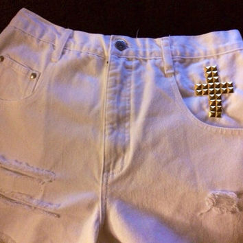 White Vintage High Waisted Shorts w/ gold cross
