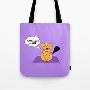 Beatrice. The cat that thinks... Yoga Tote Bag by ArtGenerations