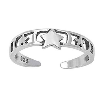 Sterling Silver Star Filigree 4MM Toe Ring/ Knuckle/ Mid-Finger