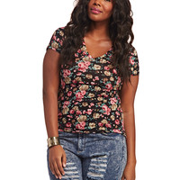 Floral V-Neck Tee | Wet Seal+