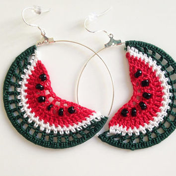 Watermelon Earrings, Fruit Earrings, Tropical Fruit, Hoop Earrings, Summer Jewelry, Crochet Earrings, Green Red White, Crochet Jewelry
