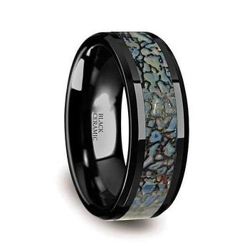 Ceramic Wedding Ring Blue Dinosaur Bone Inlay Beveled Polished Finish - 4mm & 8mm