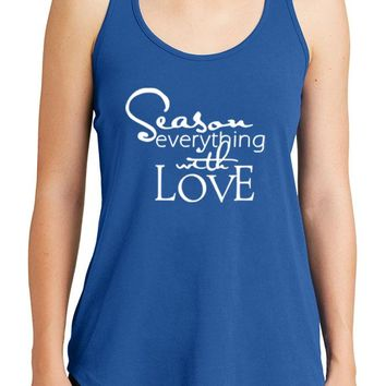 Women's Season Everything With Love Graphic New Era Heritage Blend Racerback Tank Tops for Regular and Plus - XS ~ 4XL