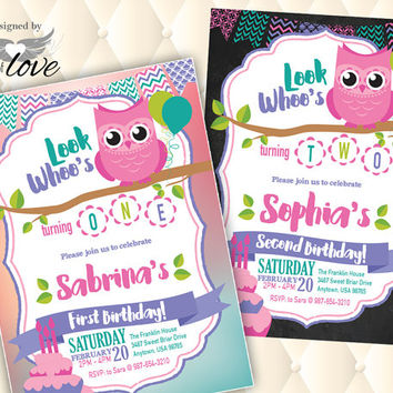 Owl Birthday Invite | Printable Invitation | First Birthday | Girls Party | Custom Invite | Owl Party | Personalized Invite | Digital Prints