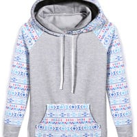 Casual Geometric Print Patchwork Hooded Jacket