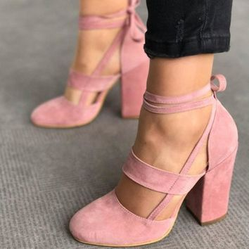 Fashion Online Strappy Suede Block Heel Women's Shoes 5 Colors