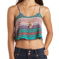 Strappy Back Scarf Print Swing Crop Top