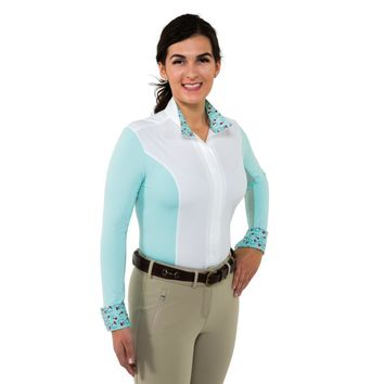Noble Outfitters Ladies Catherine Long Sleeve Show Shirt - Pastel Turquoise/French Pink
