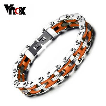 Vnox Masculine Mens Bike Chain Bracelet Stainless Steel Motorcycle Link Chain Bicycle Chain Silicone Bangles