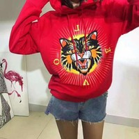 GUCCI Fashion Angry Cat Print Top Sweater Hoodie