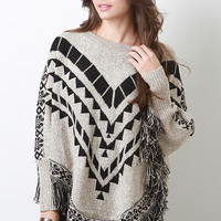 Tribal Fringe Knit Poncho Top