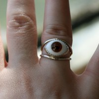 Made to ORderHoney Glass Eye Ring by luckyduct on Etsy