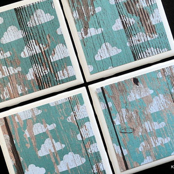 Teal Distressed Wood Coaster, Tile Coasters, Cloud Coaster, Coasters, Coaster, Rustic Coaster, Tile Coaster, Drink Coaster, Coaster Set of 4