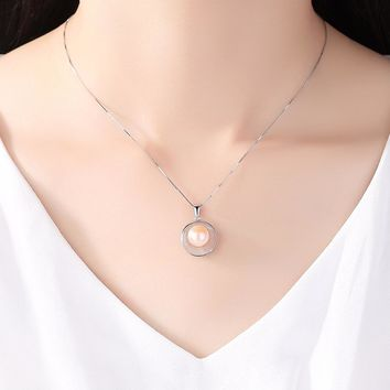 High Quality 925 Sterling Silver Chain With 9-9.5mm Freshwater Pearl Pendant Necklace.   15.7 Inches Long With 2 Inch Extender.   Available in Pink, White and Purple Pearls.   ***FREE SHIPPING***