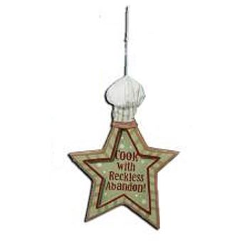 "Mom's Kitchen ""Cook with Reckless Abandon"" Star Chef Hat Christmas Ornament 6"""