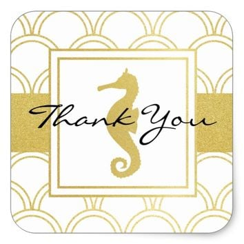 Seahorse Faux Gold Nautical Modern Thank You Square Sticker