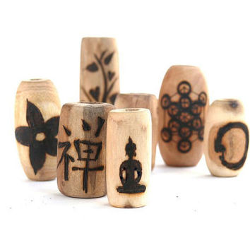 Wooden dread bead set: dread beads, dreadlock jewelry // yoga zen meditation spiritual buddha // wood bead set with symbol // personalized