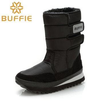 Men Winter Boots Shoes Solid Black Man Boy Snow Boots Size 36 to Big Plus size 47 Buffie Brand warm male boot
