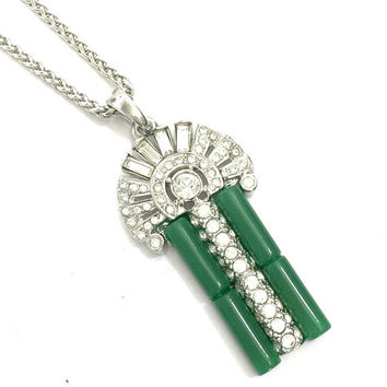 Kenneth Jay Lane Art Deco Style Necklace, Couture Collection, Faux Jade, Clear Ice Crystals, Rhodium Plated, Vintage, Designer Signed
