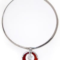 Carnelian Pendant Sterling Silver Necklace Omega Chain Italy Handcarved Circle