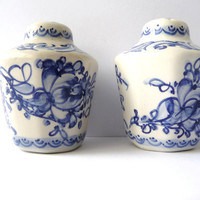 Vintage Salt and Pepper Shakers - Hand Painted Porcelain - Blue and White