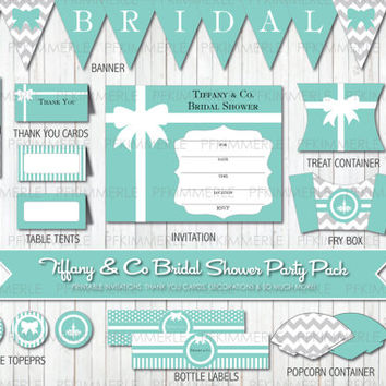 Tiffany & Co Themed Printable Party Pack Bundle Grey Chevron