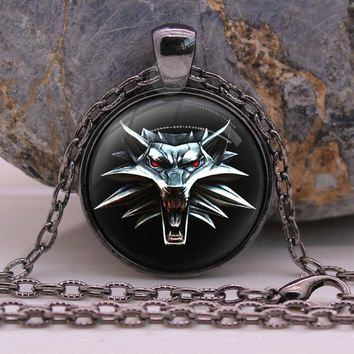 Wolf Necklace Pendant The Witcher 3: Wild Hunt Black Wolf Jewelry Gothic Glasses Pendant Necklace Gift For Kids