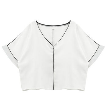 V-Neck Crop Top in Chiffon
