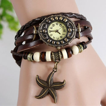 Star Fish Charm Vintage Leather Watch Bracelet with wooden beads, star fish charm, Multi Layer Bracelet, Women's Watch
