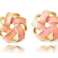 Korea Style Fashion OL Lady Chic Acrylic Knot Ear Stud Earrings 2 Colors