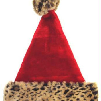 Christmas Santa Hat - Leopard Print Cuff And Pompom