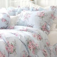 Shabby and elegant Pretty Blue Roses Cotton 4pc Bedding Sheet Set:Amazon:Home & Kitchen