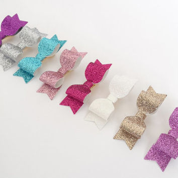 Mini glitter hair clips - mix and match - 5th free - mini hair bows - mini bows - baby hair clips - toddler hairbow - small clips