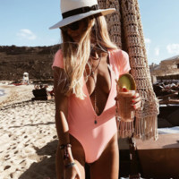 New one-piece swimsuit deep V-neck sexy backless ladies one-piece short-sleeved solid color swimsuit
