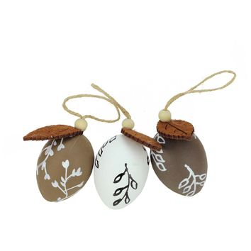 Set of 3 Brown and White Decorative Painted Design Spring Easter Egg Ornaments 2.25""