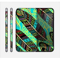 The Abstract Blue & Yellow Vector Feather Pattern Skin for the Apple iPhone 6