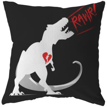 Dinosaur Throw Pillow 'Rawr' Love Valentines Day Pillow