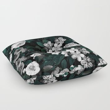 Botanical Night Floor Pillow by Burcu Korkmazyurek
