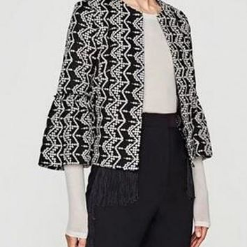 Black Embroidery Detail Flare Sleeve Open Front Crop Coat