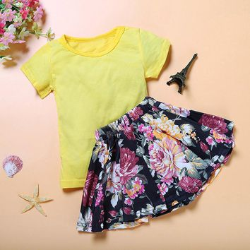Children Kids Girl Clothing Set Short Sleeve Tops T-Shirt+Floral Skirt Clothes Sets Outfits