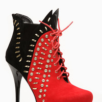 Liliana Gold Accent Ricci Red Bootie