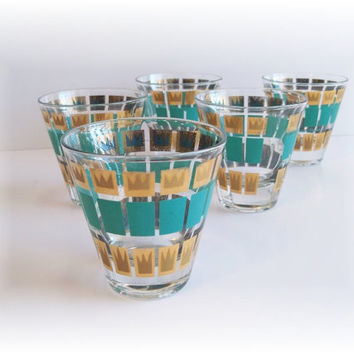 Barware Tumblers Fred Press Gold AQUA Color Mid by MrsRekamepip