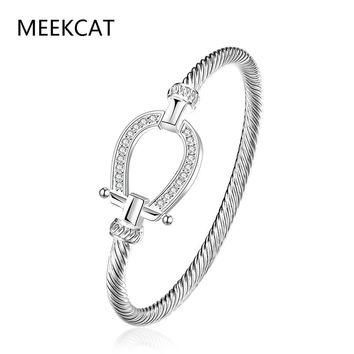 Filled Clear CZ Horse Shoe Bangle water drop Bracelet 925 stamped silver plated fashio