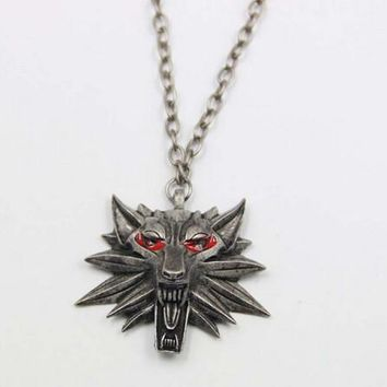 Wizard Witcher Medallion Pendant Necklace Wolf Head Necklace
