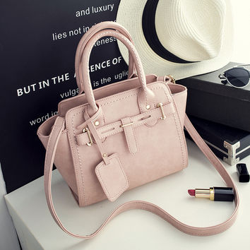 Pink Leather Crossbody Handbag Shoulder Bag