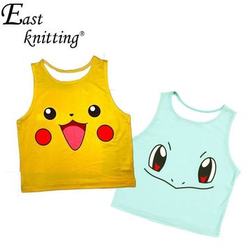 F572 Women's Squirtle Pikachu AA style Bustier Crop Top Sexy  Camisole 3D Bulbasaur Pokemon cartoon Tank Top