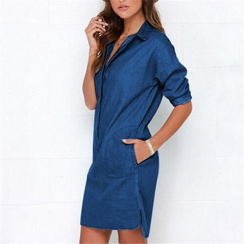 Causal Women Denim Shirt Dress Summer Irregular shirt dress Long Sleeve Sexy Mini Dress Casual Loose Jean Dresses LJ1286E